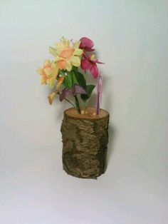 Mother's Day Vase and Pen Holder Log Flower by DeerwoodCreekGifts, $20.00