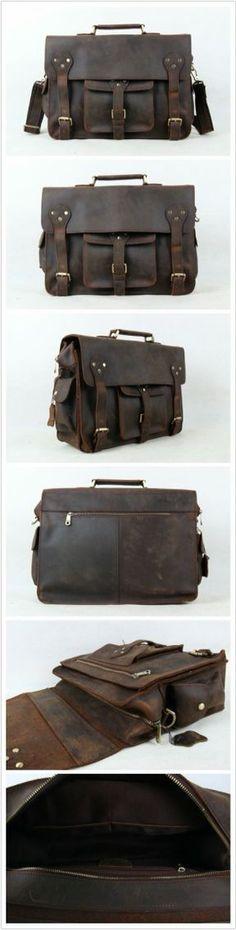 15'' Vintage Genuine Leather Briefcase, Messenger Bag, Laptop Bag