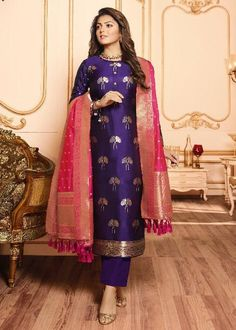 Suit designs indian style violet silk jacquard long suit embroidered net abaya style suit in fawn Silk Kurti Designs, Salwar Designs, Kurta Designs Women, Kurti Designs Party Wear, Blouse Designs, Dress Designs, Indian Fashion Dresses, Dress Indian Style, Indian Gowns