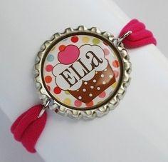 cute bracelets using Flattened Bottle Caps