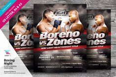 Boxing Night Flyer & Poster Template by kinzi21 on @creativemarket