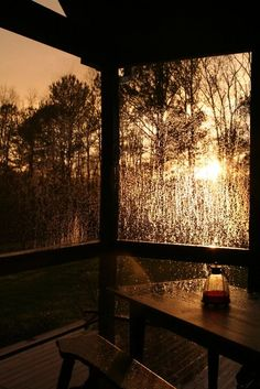 Sunset through rain spattered window: