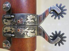 9284 New Handmade SHAWN DEETER Double Mounted Spurs