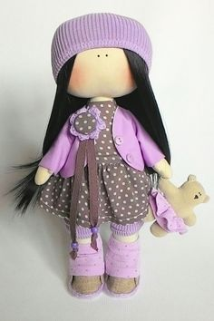 Fabric doll-clothes-art doll outfit-lilac cloth rag doll-interior decorating-gift for her