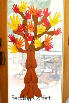 Can do all green hands for the summer/spring and add small tissue paper balls for flower buds. [A handprint and footprint tree is a fun way for the family to create a fall bucket list. Fall Arts And Crafts, Autumn Crafts, Fall Crafts For Kids, Autumn Art, Autumn Theme, Holiday Crafts, Fall Preschool, Preschool Crafts, Autumn Activities