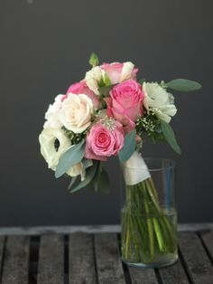 Pink and ivory bouquet for bridesmaid.