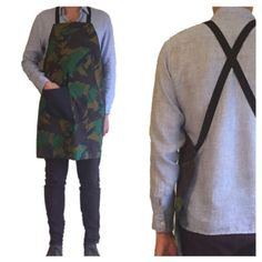 Camouflage apron with denim pocket <3