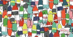 Buoys Nautical. Surface Pattern Design. Available for licensing. Emily Ann Studio