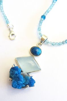 Cavansite and Aquamarine necklace with sterling by MayStudios, $195.00