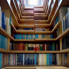 How cool is this.  A closet library that has step shelves that lead to a window lit reading loft.  So want this!!!!!!!