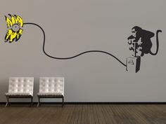 Large Banksy Monkey Bomb Wall Stickers This large wall sticker design is inspired by infamous UK graffiti artist Banksy, and is perfect to create a focal point in any room.