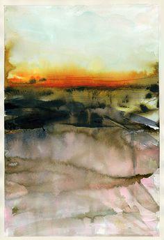 Abstract Watercolor Original Painting Landscape : Polish Soil by martaspendowska. Explore more products on http://martaspendowska.etsy.com