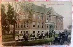 ~ Vintage 1908 Postcard of High School, Garrett, Indiana ~ Antique Automobile  ~