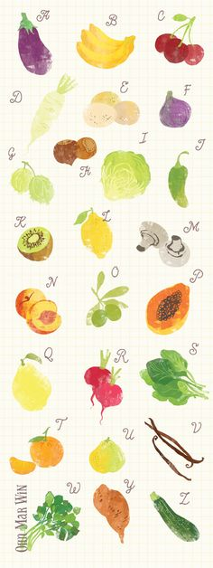 A to Z of fruit and vegetables OHN MAR WIN aubergine banana daikon eggs fig gooseberry hazelnut lettuce mushroom nectarine olive papaya