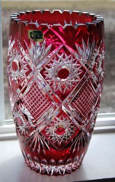 """Stunning Germany Cranberry Lead Cut to Clear Sawtooth Crystal Vase ~ 9 3/4""""…"""