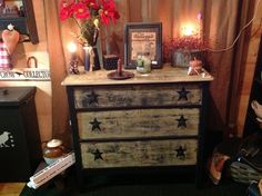 Painted and distressed old dresser with dove tail drawers