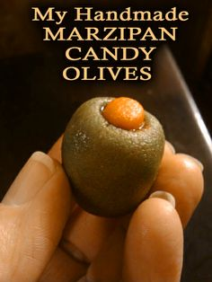 Handmade Marzipan Candy Olives for National Marzipan Day, January 12th. Click image for recipe (also has a recipe for a Marzipan Martini.)