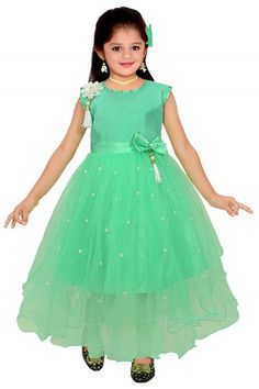 55ba575621 Buy Ark Fashion Girl's Maxi Full Length Bright Party Casual Wear Frock Gown  Dresses which gives