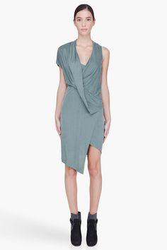 HELMUT LANG Mint Green Flip-Front Dress