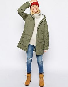 Fjallraven Hooded Parka Coat With Shearling Lining | ASOS Hooded Parka, Parka Coat, Coats For Women, Jackets For Women, Clothes For Women, Latest Clothes, Parka Outfit, Winter Parka, Outdoor Outfit