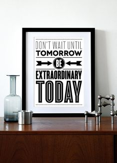 Inspirational print poster, retro poster, mid century modern, kitchen art, office, graphic design, Motivational quote, Typography - Today A3