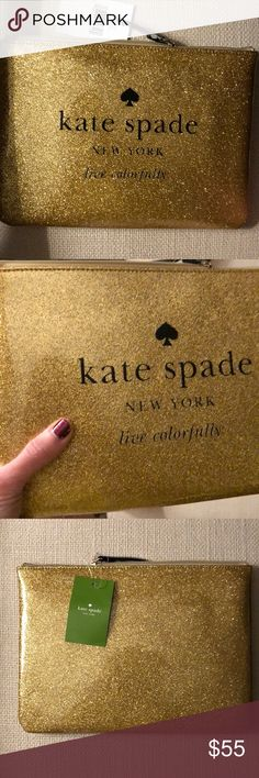 "kate spade ♠️ glitter clutch! Add some sparkle to your life with this adorable clutch! Measures 7.2"" H x 10.1"" W x .6 D. Plastic, so the glitter won't rub off! kate spade Bags Clutches & Wristlets"