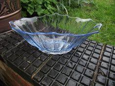 Trifle / Fruit Bowl - Art Deco - Blue Glass Shabby Chic - Hermanova Hut ?