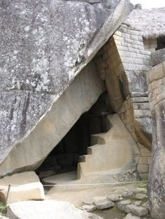 """Beneath Machu, lies a huge cave """"enlarged and shaped artificially to precise geometric forms, masonry of white granite ashlars. This is the cave from which the Anunnaki sent the first Inca king to found Cuzco, 75 miles southeast of Machu. [Childress, 2012:319 -343; Lost Realms 140 - 154]"""