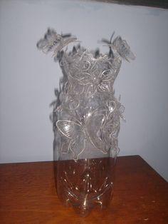 vaso artesanal de pet cortada