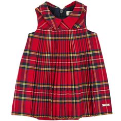 Sleeveless pleated dress with red tartan checks. Cotton percale lining. Shirt collar. Invisible zipper in the back. Machine washable on a wool cycle. - $ 118.00