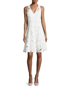 Mi Amor Sheath Dress with Cutwork Embroidery, White by Nanette Lepore at Neiman Marcus.