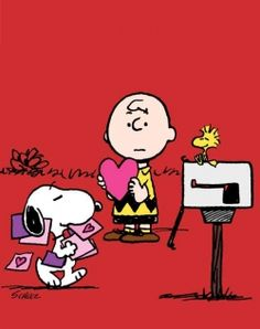 Snoopy preparing to send Valentine's Day cards to all of the special women in his life