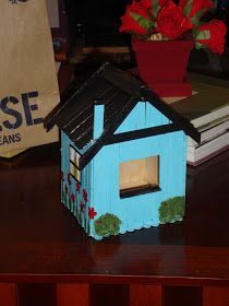 The Crafty Canadian: Popsicle Stick Birdhouses Popsicle Stick Birdhouse, Popsicle Stick Houses, Popsicle Stick Crafts, Craft Stick Crafts, Wood Crafts, Fun Crafts, Crafts For Kids, Craft Projects, Projects To Try