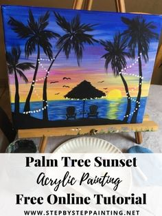 Acrylic painting tutorial for beginners how to paint a palm tree sunset with silhouettes. Learn with guided pictures and a video. Acrylic Painting For Beginners, Step By Step Painting, Beginner Painting, Painting Tutorials, Nautical Canvas, Nautical Painting, Palm Tree Sunset, Palm Trees, Diy Canvas Art