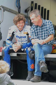 Unguarded moment. Guy Martin and Andy Kershaw. Goodluck to Guy in todays TT race!