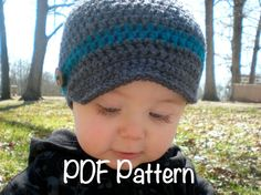 PATTERN:  Wiseguy Hat- Easy Crochet, Newborn to Adult, newsboy visor button bow, beanie, modern baby kid teen boy girl, Permission to Sell. $4.99, via Etsy.