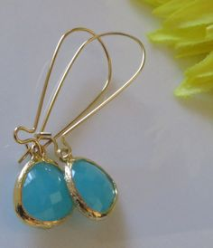 16k Gold plated ,Mint Turquoise, Green Teardrop, Bridesmaids jewelry, Kidney earwires ,Bridal Jewelry, Bridesmaids gift, Free Us Shipping