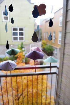 Raindrop Pattern Paper & Umbrella Mobile Tutorial