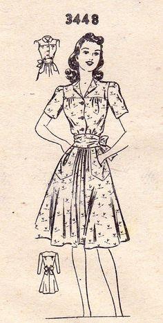 "1940s Misses Summer Dress Vintage Sewing Pattern Mail Order 3448 bust 34"" uncut"