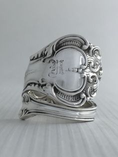"""Size 7 Vintage Sterling Silver Monogrammed """"H"""" Spoon Ring by NotSoFlatware on Etsy https://www.etsy.com/listing/179524009/size-7-vintage-sterling-silver"""