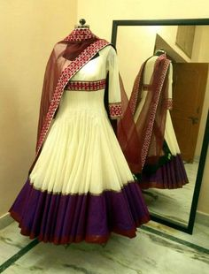 Beautiful Anarkali Suit – This stunning off white and purple anarkali suit is designed by Madhu Verma. It is long dress with simple plain purple color border and three fourth Anarkali Dress, Anarkali Suits, Pakistani Dresses, Indian Dresses, Indian Outfits, Indian Clothes, Lehenga, White Anarkali, Long Anarkali
