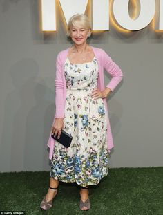 Helen Mirren is youthful at 70 in ladylike floral dress at MoMA Party