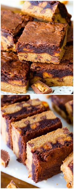 Monster Bars! Aka homemade fudgy brownies, chocolate chip cookies, and Reese's peanut butter cups in ONE! Love this idea for a layered dessert recipe.