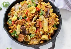 Best vegan Paella recipe with mushrooms, artichokes, roasted peppers, plant based sausage and brown rice cooked in a Spanish saffron and white wine broth. Vegetarian Recipes Dinner, Vegan Dinners, Gourmet Recipes, Vegan Recipes, Vegetarian Paella, Easy Recipes, Vegetarian Lunch, Delicious Recipes, Cooking Recipes