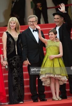 Kate Capshaw, Steven Spielberg, Ruby Barnhill and Mark Rylance attend the screening of 'The BFG (Le Bon Gros Geant - Le BGG)'-  at the annual 69th Cannes Film Festival at Palais des Festivals on May 14, 2016 in Cannes, France.  (Photo by Samir Hussein/WireImage)  Ruby is wearing a couture green silk dress by Lazy Francis. www.lazyfrancis.com