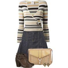 Striped Sweater and Denim Skirt