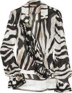 ShopStyle: Roberto Cavalli Silk animal-print blouse