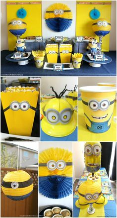 Birthday Party Ideas Minions Party Ideas with Birthday In A Box! Fun ideas for decorating, food, games and more!Minions Party Ideas with Birthday In A Box! Fun ideas for decorating, food, games and more! Minion Theme, Minion Birthday, Birthday Box, 3rd Birthday Parties, Minion Baby, Birthday Ideas, Happy Birthday, Despicable Me Party, Minion Party Games
