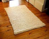 Alfombra Crochet alfombra estera gruesa lana pura crema alfombra lana alfombra alfombra crema lana Mat alfombra de punto grueso grueso alfom...