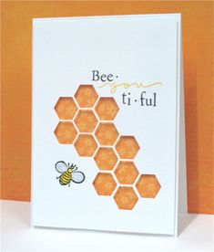 handmade card ... negative space hexagon dies backed in honey colors ... cut punny sentiment ...